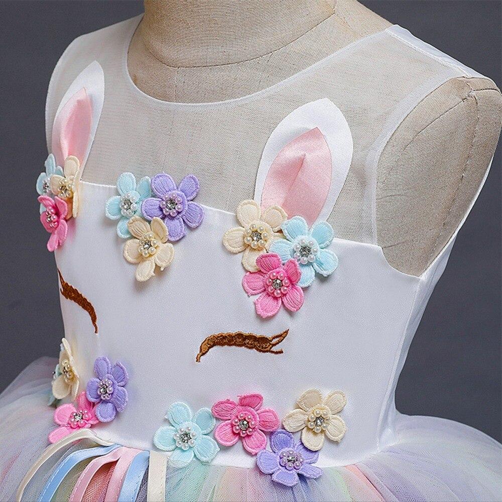 Arco íris unicórnio vestido meninas elegante flor