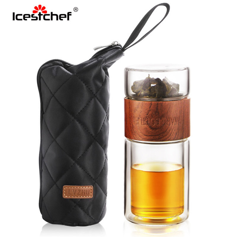 ICESTCHEF Teaware Set Water Bottle Portable Double Wall Kung Fu Tea With Carring Bag Heat-resistant Tea Filter Travel Drinkware