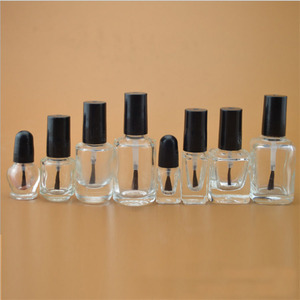 Image 4 - 10pcs 5ml/10ml/15ml/20ml Empty Clear Glass Nail Polish Bottle With Lid Brush Paint Glue Containers Nail art Vials Round Square