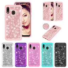 Glitter Phone Cases for Samsung Galaxy A20 A30 A50 A20e A10e Case Bling 2 In 1 Hybrid PC TPU  Shockproof Back Cover Fundas Coque