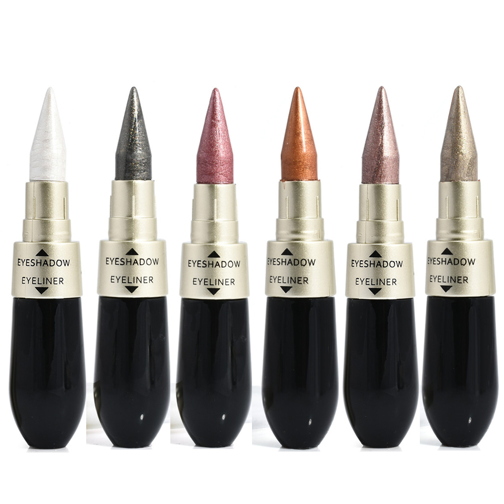 1 pièces Eyeliner noir Double tête 6 couleurs fard à paupières noir liquide Eyeliner crayon pour les yeux maquillage facile Maquiagem cosmétique Kosmetyki