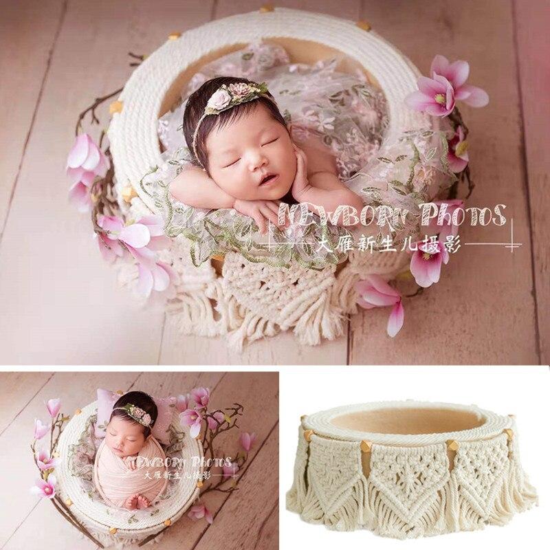 Newborn Photograph Props Girl Bohemian Tassel Basket Baby Photo Shoot Posing Sofa Chair Bed Infantil Accesorios Fotografia Boy