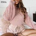 FSDA ピンクストライプショートルーズセーター女性ブラックホワイトロングランタンスリーブプルオーバー O ネックカジュアル甘いかわいいオフィスニット作物セーター
