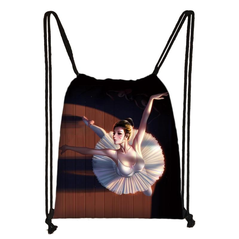 Cartoon Ballet Dancing Girls Drawstring Bag Women Fashion Storage Bags Teenager Girls Backpack Kids Bookbag
