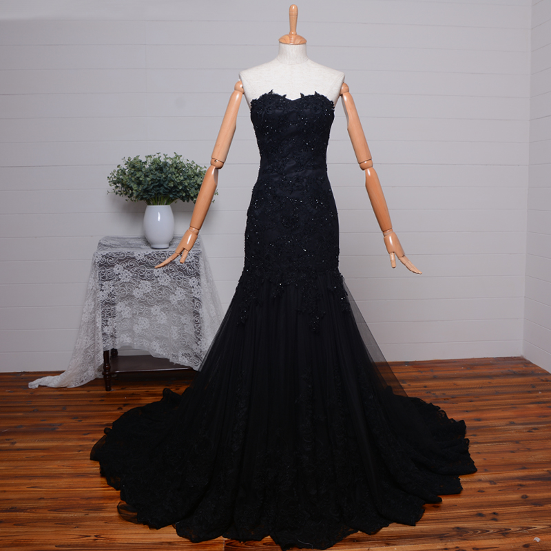Vestido De Festa 2018 Sweetheart Beading Evening Gown Arrival Black Lace Appliques Formal Elegant Mother Of The Bride Dresses