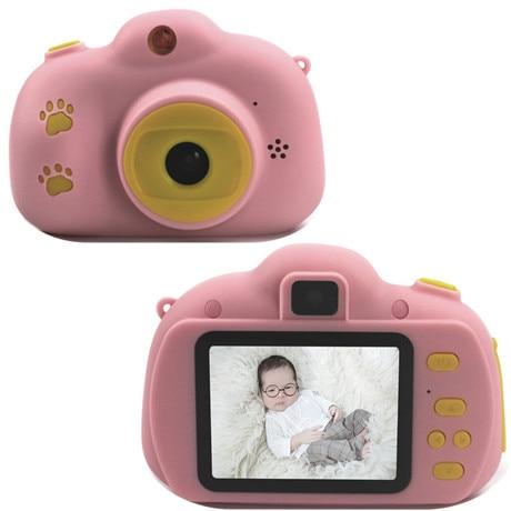 Мультяшная цифровая камера, детские игрушки, креативная развивающая игрушка для детей, аксессуары для обучения фотографии, подарки на день рождения, детские товары - Цвет: Pink footprint