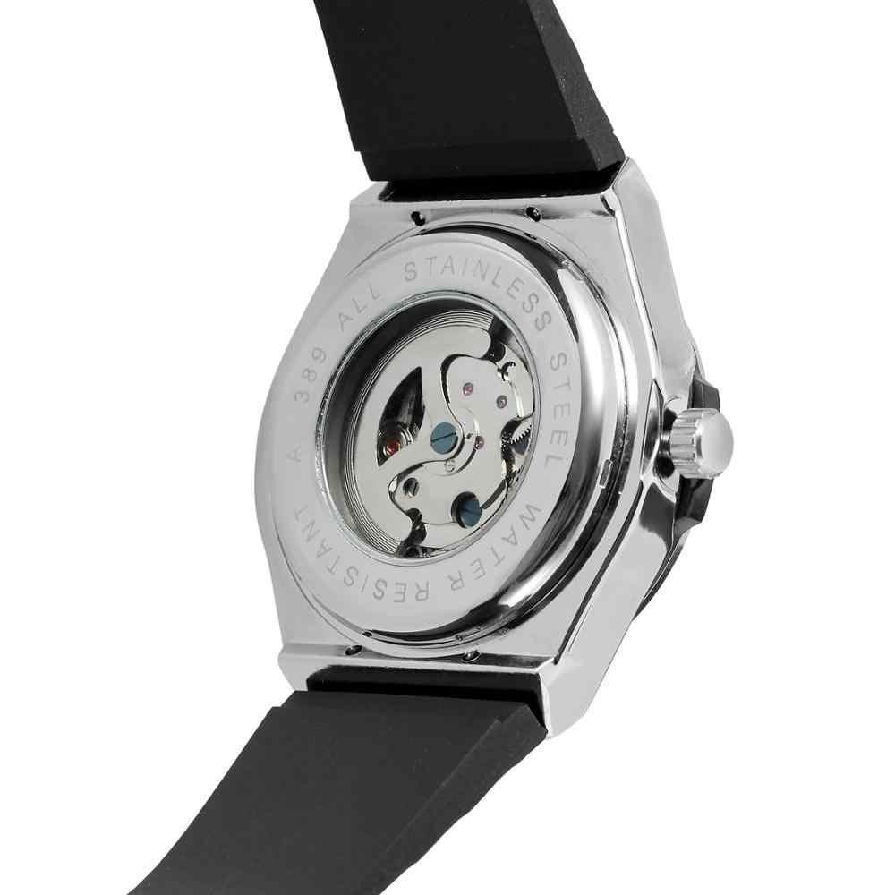 Forsining moda homem prata dial oco relógio de pulso mecânico masculino pulseira de silicone