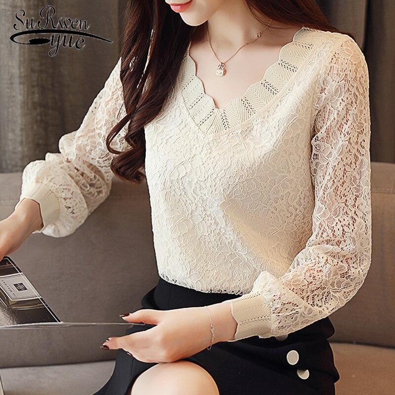 2019 New Fashion Elegant Casual Women Blouse Solid Women Tops Lace Long Sleeve V-neck Women Clothing Autumn Korean Style 5958 50