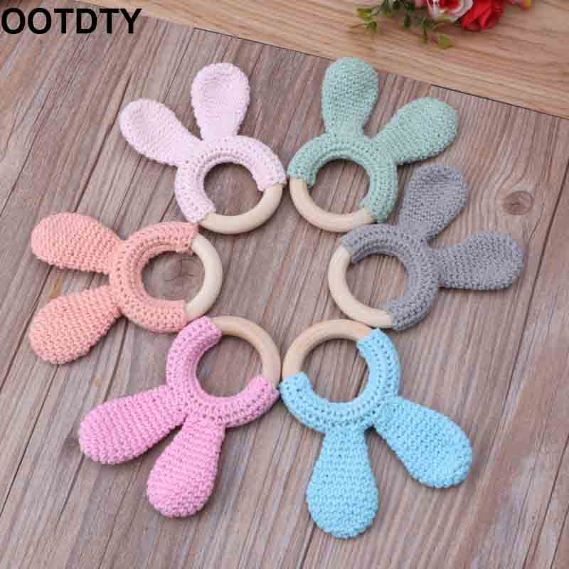 Baby Teether Bunny Ear Crochet Wooden Ring Safe Organic Wood Teething Rattle Toy
