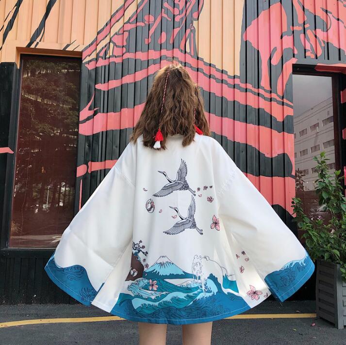 New Autumn Japanese Styles Kimono Couple Cardigan Printing Kimono Yukata Woman Man Loose Student Outer Garment