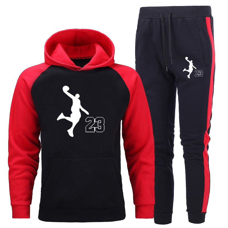 New Tracksuit Men Sets Hit Color Splice Hoodie Sportswear Two-piece Sports Hoodies Sets Fashion Hooded Sweatshirts + Sweatpants