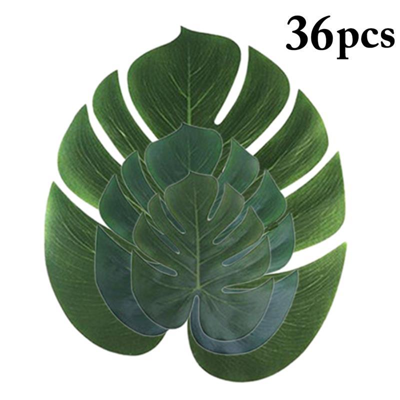36pcs Monstera Artificial Plants Plastic Tropical Palm Tree Leaves Home Garden Decoration Accessories Photography Decorative