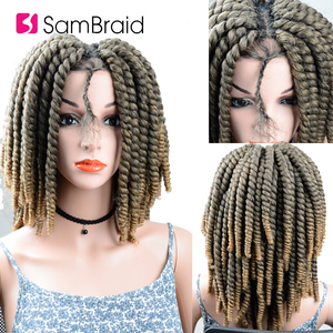 Image 5 - SAMBRAID DIY Crochet synthetic Braiding Hair Ombre Lace Front Wig With Crochet Braids Spring Passion Twist Lace Wig For Women