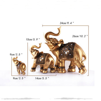 Home Decoration Figurine Southeast Asian Style Gold Elephant Eco-resin Craft Creative Living Room Ornament Business Wedding Gift 5