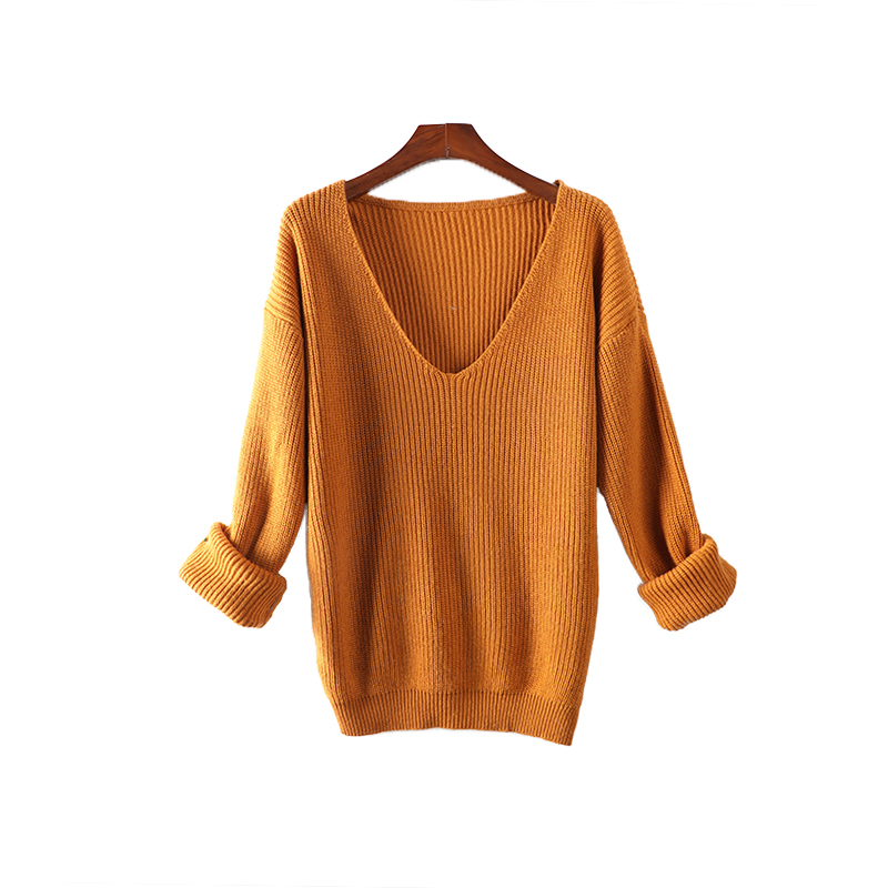 Pull surdimensionné femmes col en v cachemire laine automne hiver pull Long pull en tricot doux pull femme Sexy robe pull