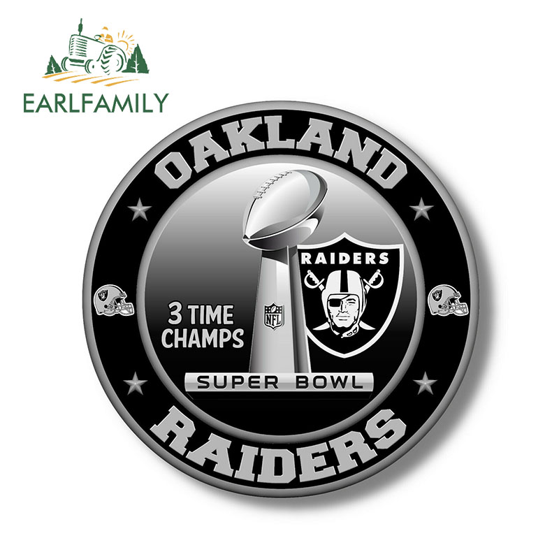 EARLFAMILY 13cm X 13cm FOR Oakland Raiders Super Bowl Championship Vinyl Sticker Decal Waterproof Car Stickers