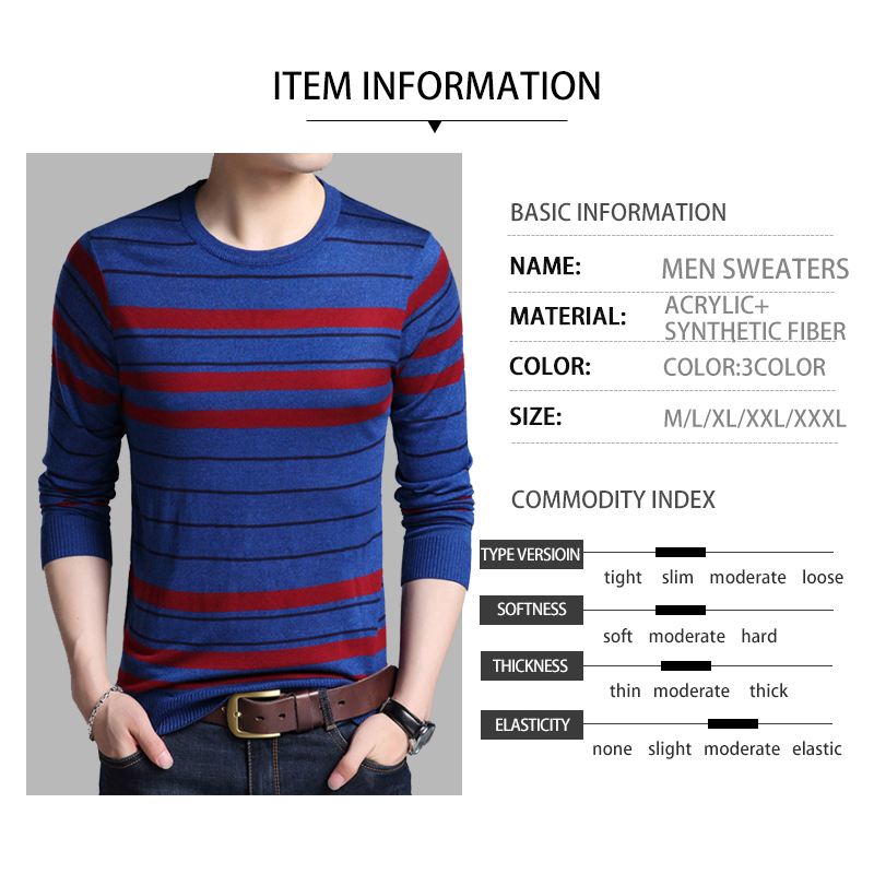 2019 Winter Men's Sweater O-Neck Striped Slim Fit Knittwear Mens Sweaters Pullovers Pull Homme Causal Sweater for Men