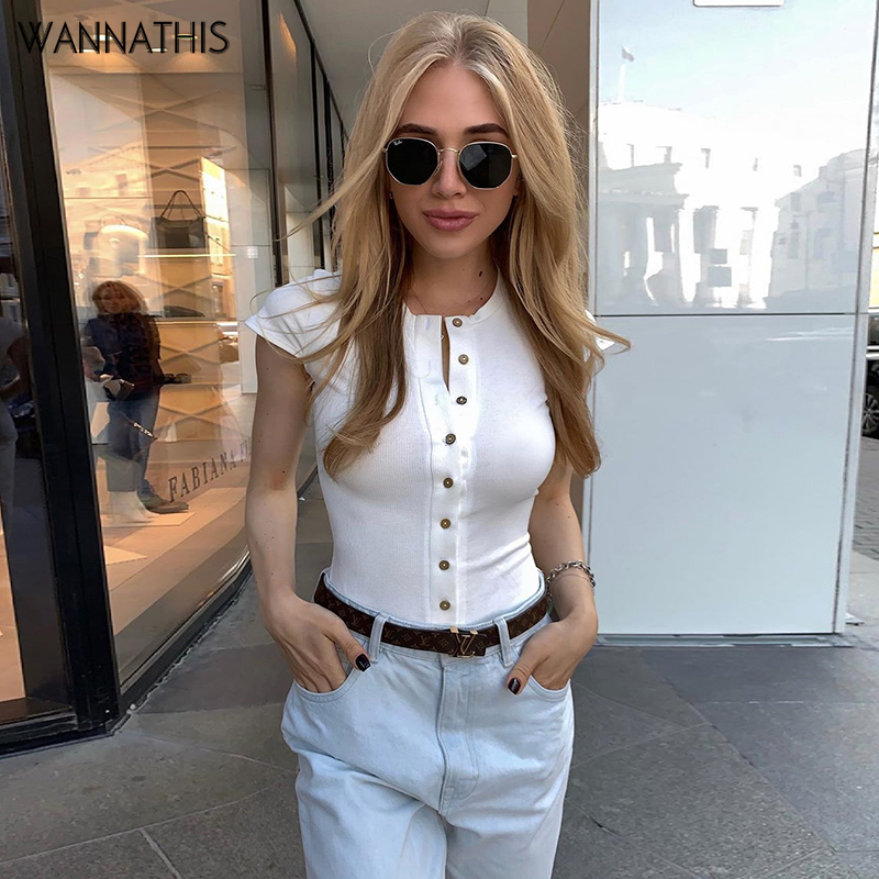 WannaThis Short Sleeve White Front Button V-Neck Sexy Bodysuit Women Summer New Slim Elastic Cotton Soft Solid Color Rompers