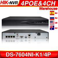 Hikvision Original DS 7604NI K1/4P 4CH POE Embedded Plug Play 4K PoE NVR for IP Camera CCTV System Upgradable HDD Selectable.