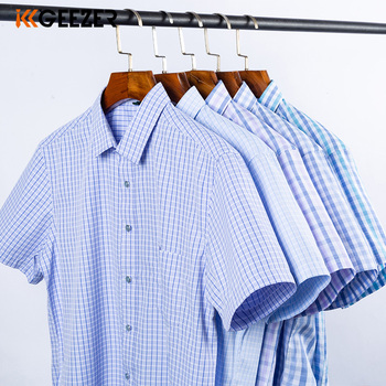 Men Shirt Plaid Short Sleeve Dress Striped Formal Shirt 2020 Summer Casual Slim Fit Pocket High Quality Business Dropshipping