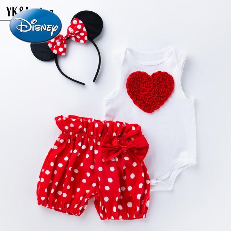 Disney Minnie Mickey Mouse Children's Clothing Baby Girl Cartoon Love White Sleeveless Romper Polka Dot Shorts Set Baby