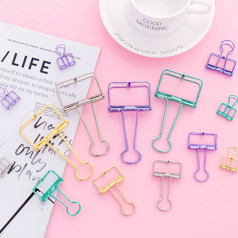 Colored Metal Hollow Binder Clip For Girl Creative Kawaii Paper Clip For Photo Message Ticket File Office School Supplies