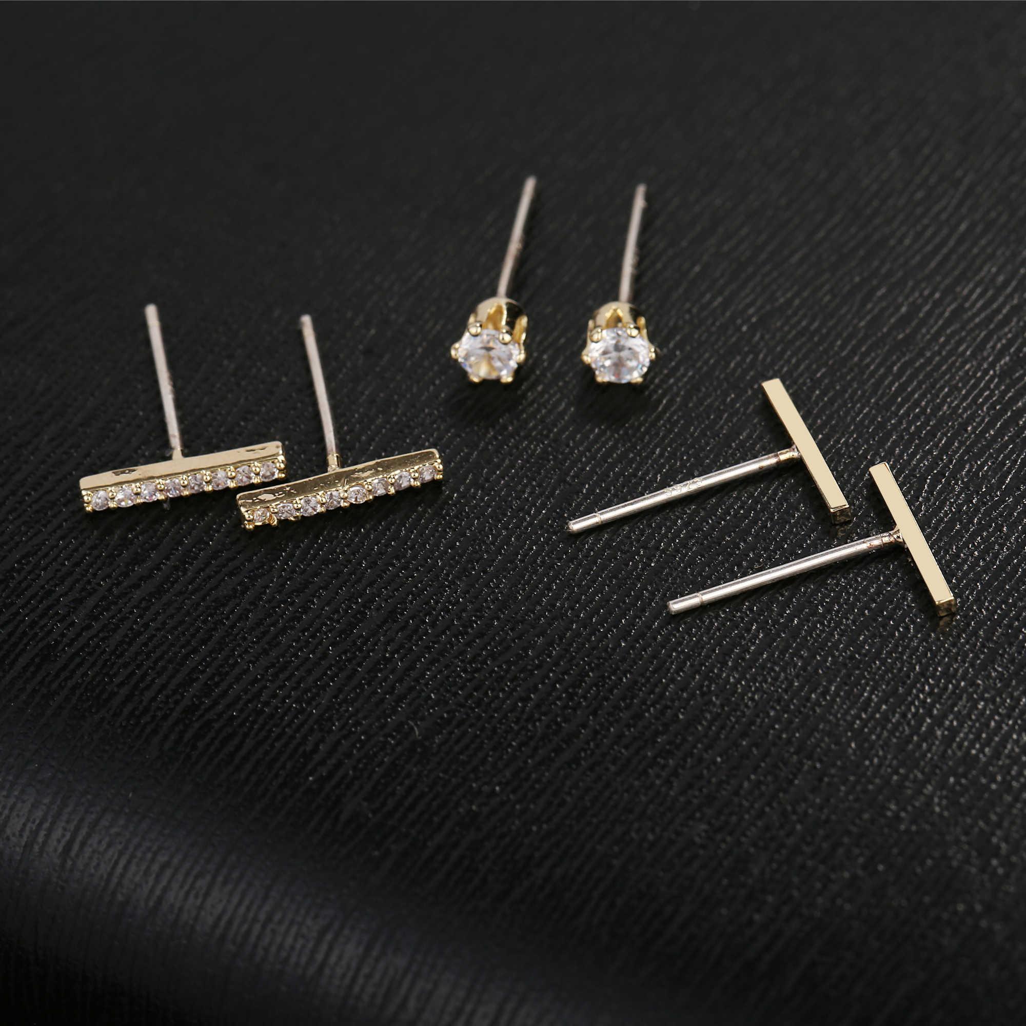 MIGGA 3 paires petits bâtons géométriques Zircon cubique boucles d'oreilles couleur or femmes clous ensemble bijoux