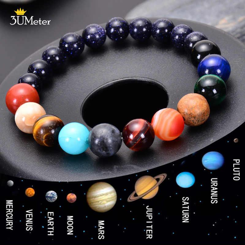Les huit planètes Bracelets perles de pierre naturelle Chakra Yoga Bracelet univers galaxie système solaire Bracelets pour hommes femmes cadeaux