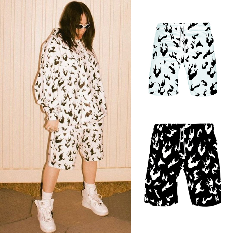 Billie Eilish <font><b>shorts</b></font> flame <font><b>women</b></font> and <font><b>men</b></font> white fire black hiphop summer <font><b>sports</b></font> hawaiian magic gym Same paragraph image