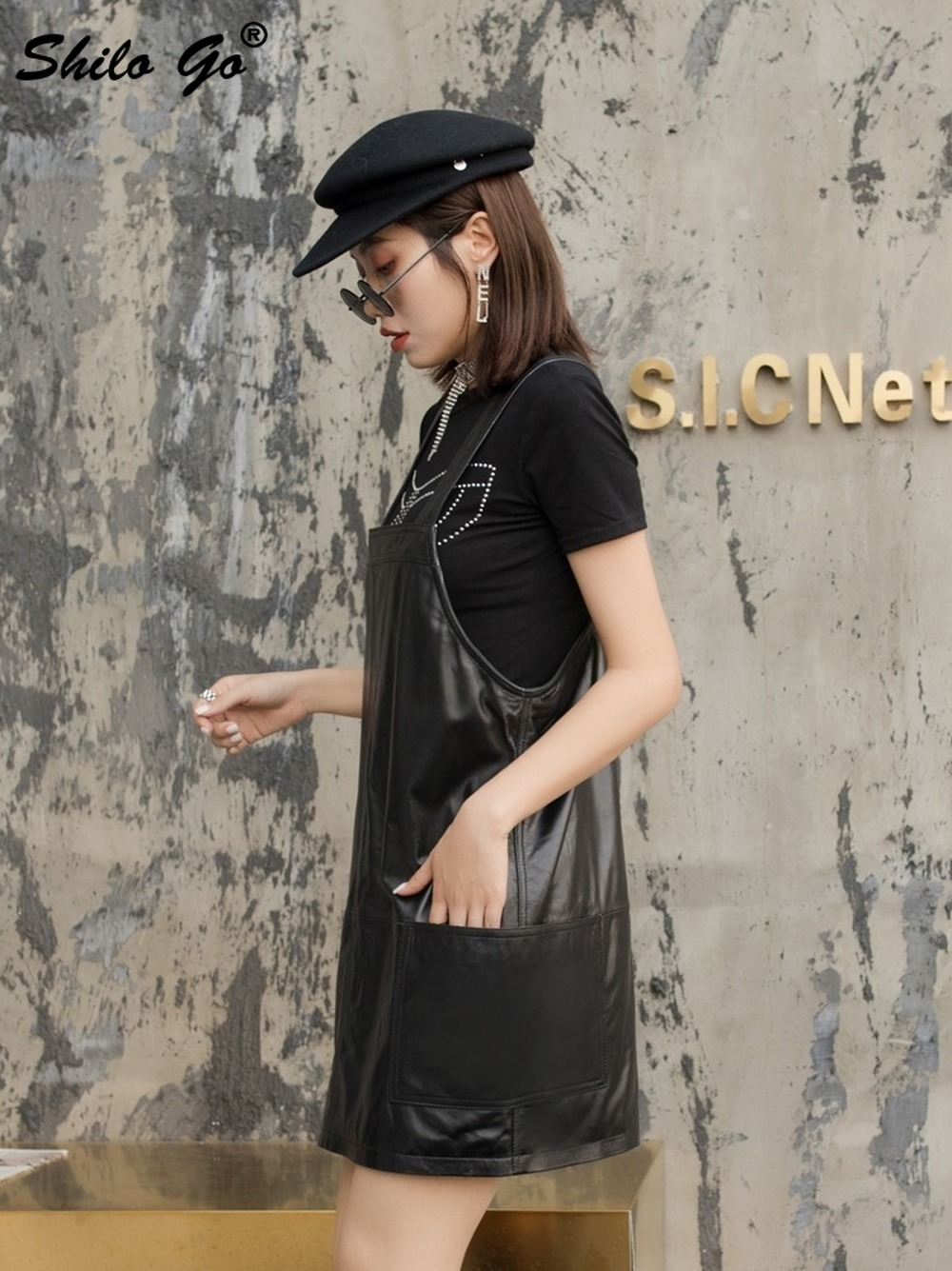 Genuine Leather Dress Black Solid Sleeveless Strap Dress Women Autumn Casual Plus Size Pocket Front Backless Sheepskin Dresses - 4