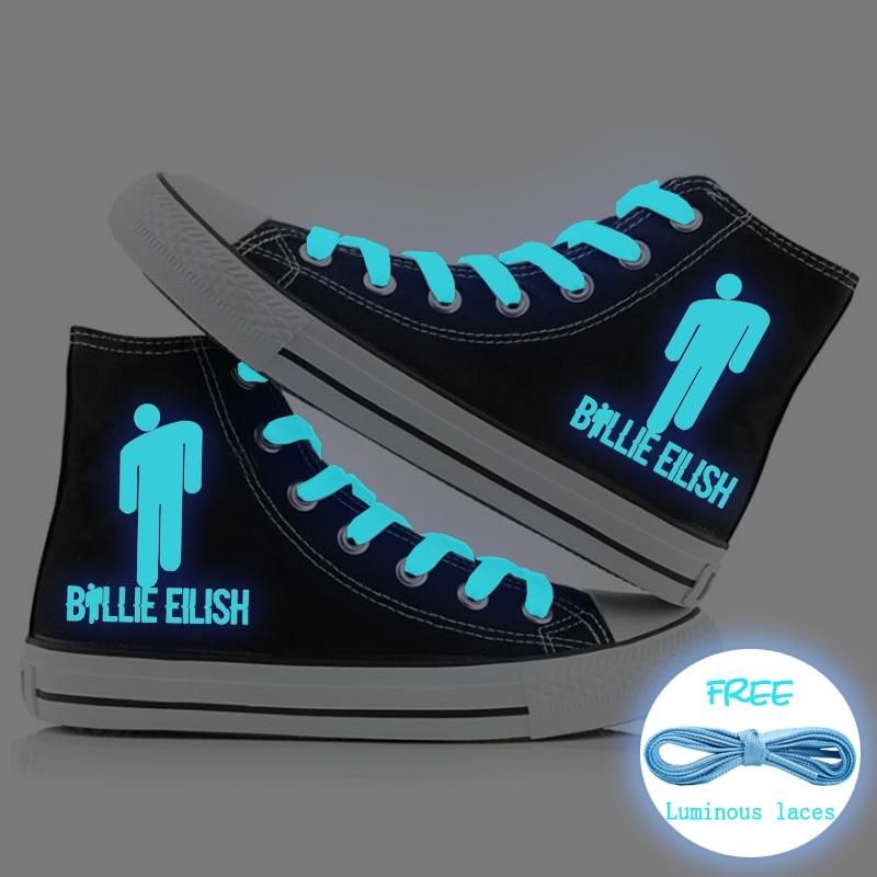 Billie Eilish Luminous Women Flat Sneakers Canvas Shoes Fluorescent Lace Up Casual Shoes Students Girls Sport Shoes High Top