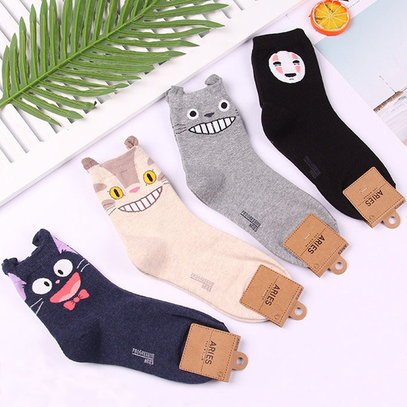 Anime Classic Totoro Women Socks Cat Funny Fashion Cute No Face Man Cartoon Sock Spring Autumn Comfort Happy Korean Cotton Socks