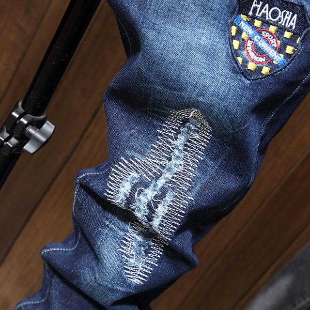 Pantalones vaqueros ajustados para hombre, pantalones ceñidos con estampado de motorista azul, informales, de chándal, a la moda 5