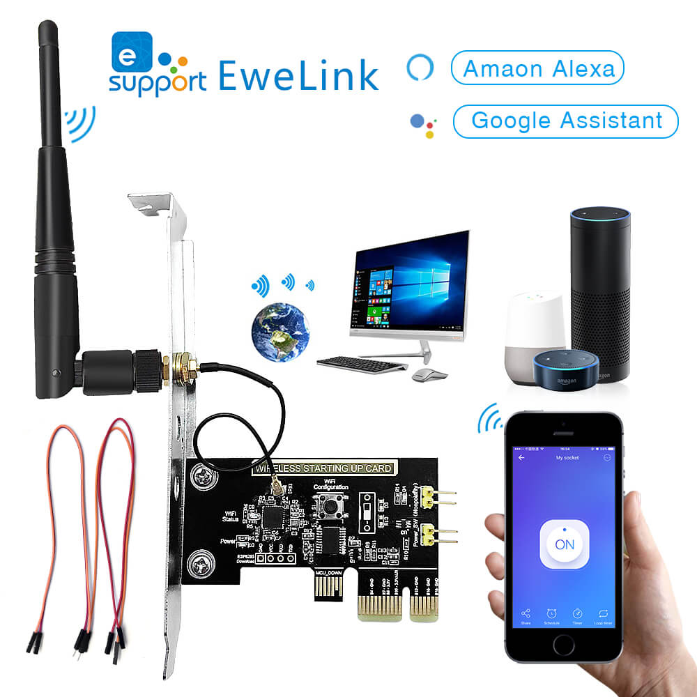 EWeLink Mini PCI-e Desktop PC Remote Control Switch Card WiFi Wireless Smart Switch Relay Module Restart Switch Turn On/OFF NEW