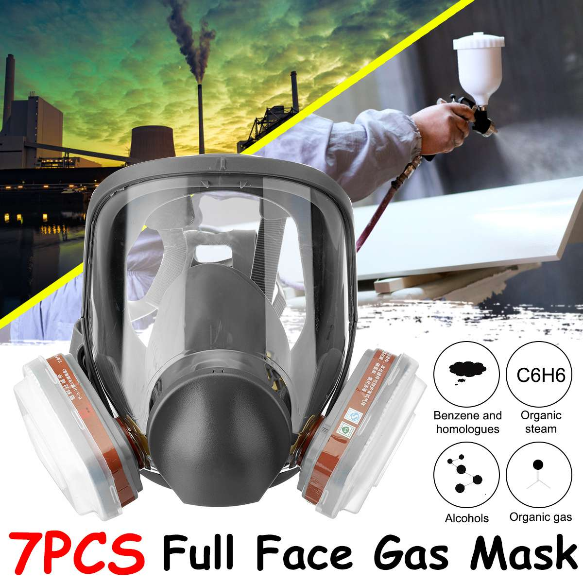 7PCS Protection Safety Respirator Gas Mask For 6800 Gas Mask Painting Spraying Full Face Facepiece Respirator KN95 Filter Cotton