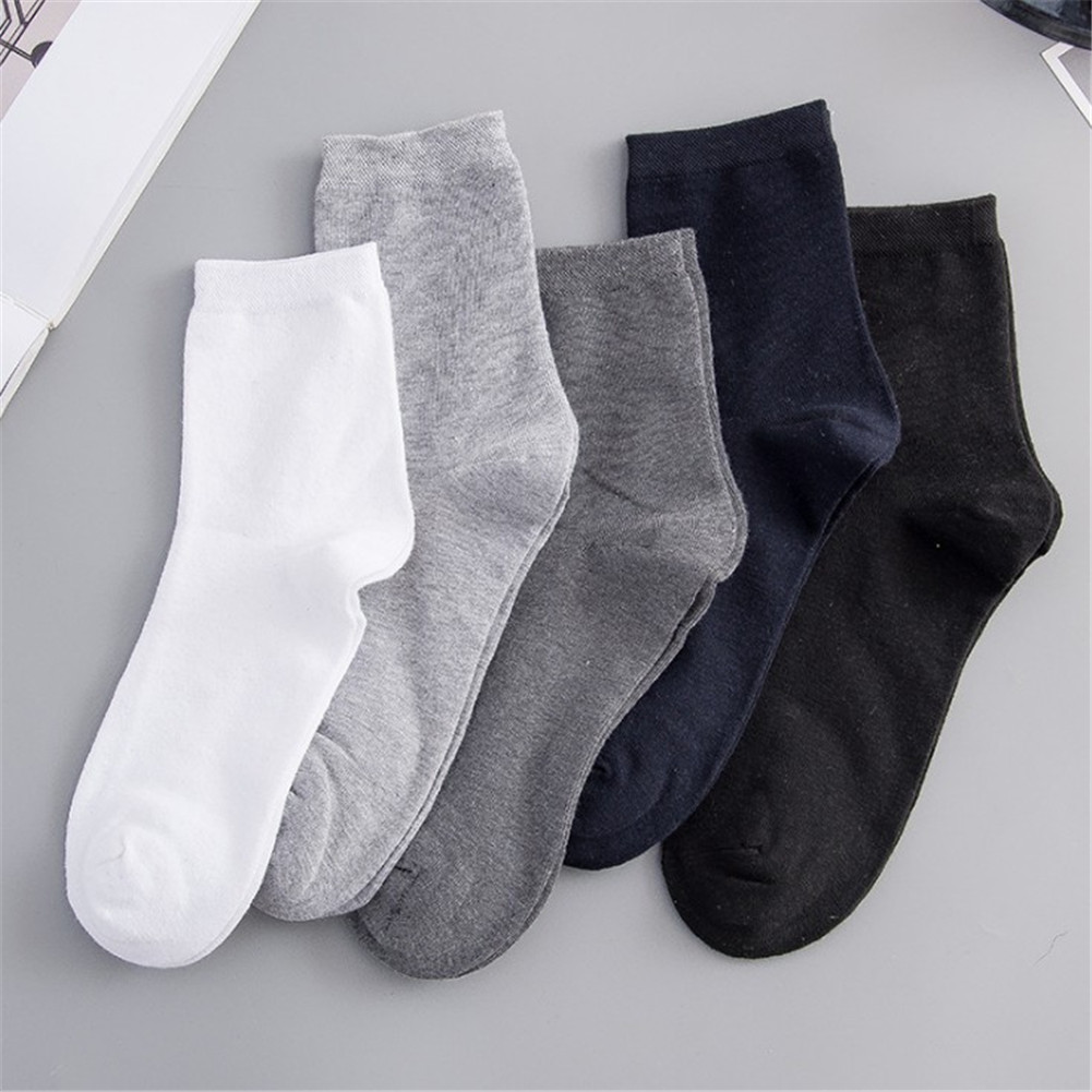 Men's Cotton Socks Business Men Deodorant Crew Socks Breathable Male Solid Color Casual Pure Color Mid Tube Soft Warm Socks