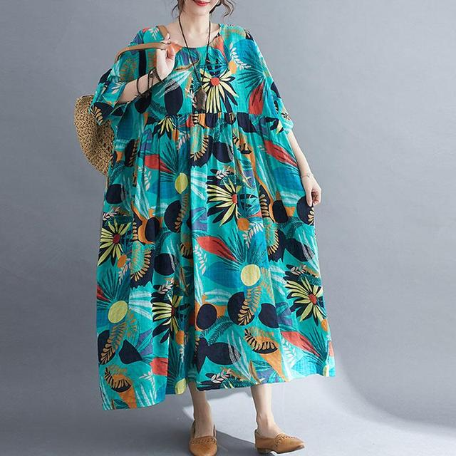 Plus Size Summer Beach Dress Women Floral Casual Oversized Ladies Dresses 4XL 5XL 6XL Vestidos Robe Femme Holiday Dress 2021 New 3
