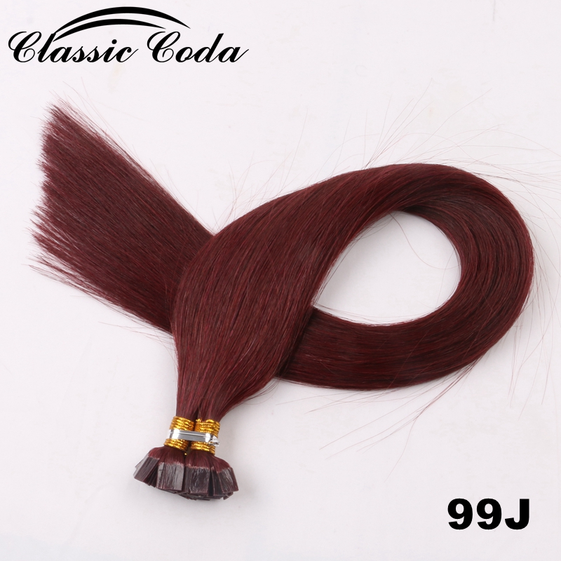 Punctual Classic Coda Cuticle Remy Flat Tip Human Hair Extensions 1g/s 20'' 22 Brown Color Straight Capsules Keratin Pre Bonded Hair