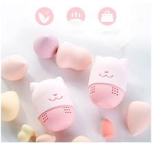 Pink Cat Sponge Holder Soft Silicone Powder Puff Drying Holder Egg Stand Beauty Sponges Case For Washing Cosmetic Blender Holder