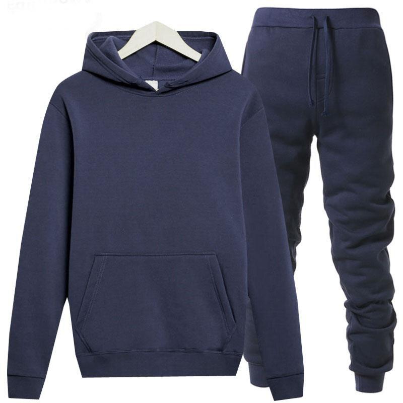 Men/ Women's Tracksuits Jordan 23 Autumn Winter Solid Color Sportswear Hoodies+Long Pants Two Piece Set Female Cotton Outfits
