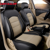 CARTAILOR Waterproof Front & Rear Row Cowhide Leather Car Seat Cover Styling for Toyota FJ Cruiser Seat Covers & Accessories Set
