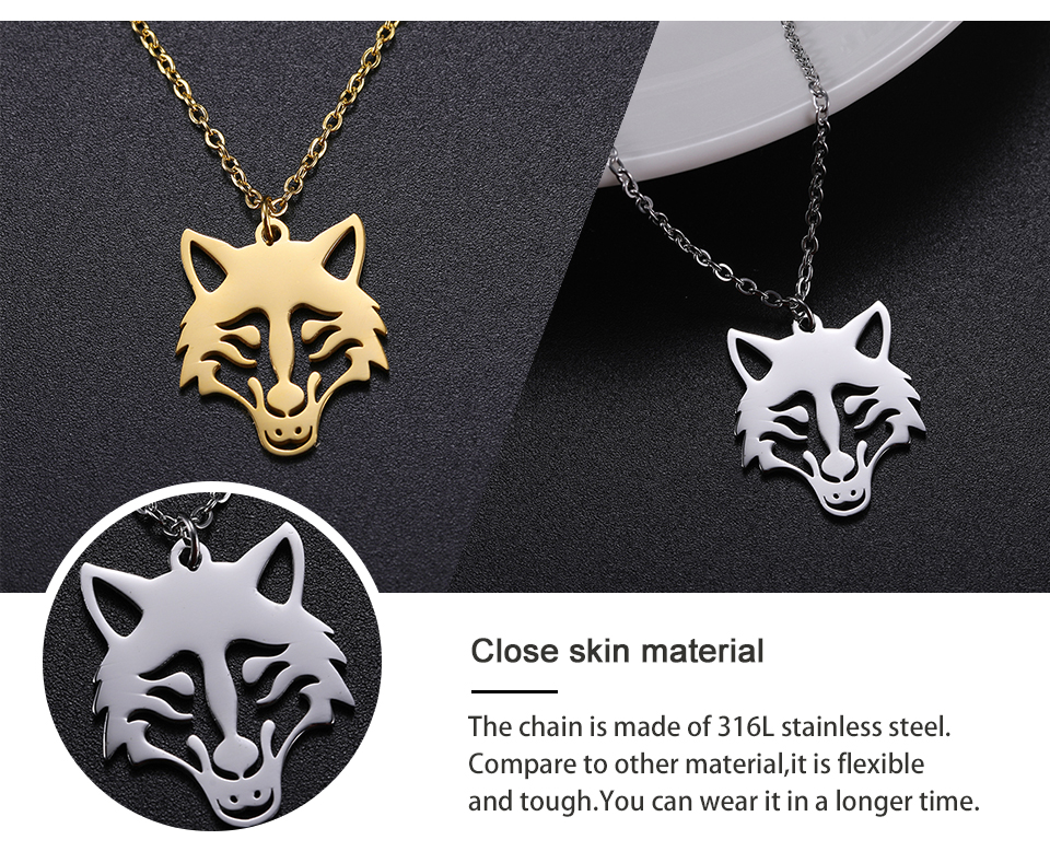 H77e1d1b0cd044bfcb77cb96c697aa8e2X - My Shape Wolf Animal Necklace 316L Stainless Steel Forest Animals Men Necklace Hollow Cut Out Pendant Jewelry Gift For Women