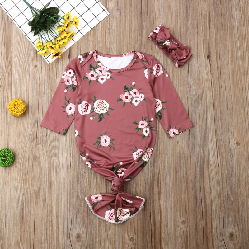 Newborn Baby Boys Girls Blanket Sleepers Floral Infant Sleepwear Bag Pajamas Set