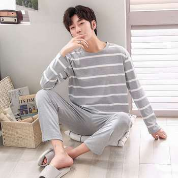 Teenage Pajamas Men Spring and Autumn Long Sleeve Men Middle-aged Temperament Striped Winter Thin Loose Casual Leisure Tops electric moxa knee pads autumn and winter to keep warm old cold legs men women moxibustion joint inflammation middle aged