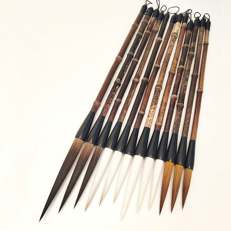 3pcs Calligraphy Brush Caligrafia Woolen Bear Wolf Hair Brush Pen Chinese Painting Hook Line Long Hair Writing Brush Tinta China
