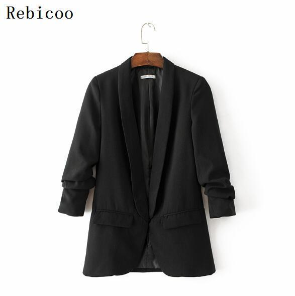 Office Lady Jackets Women 3/4 Sleeve OL Slim Fitted Business Coat Solid Color Turn-down Collar Jacket Coat Women Suit