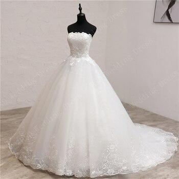 Real Photo Lace Embroidery Strapless Wedding Dresses Long Train Wedding Gown Elegant Make Plus Size Cheap Vestido De Noiva