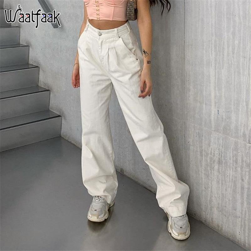 Waatfaak Pocket Cotton Pants Harajuku Casual High Waisted White Baggy Pants Summer Capris Straight Trousers Jogger Women Autumn