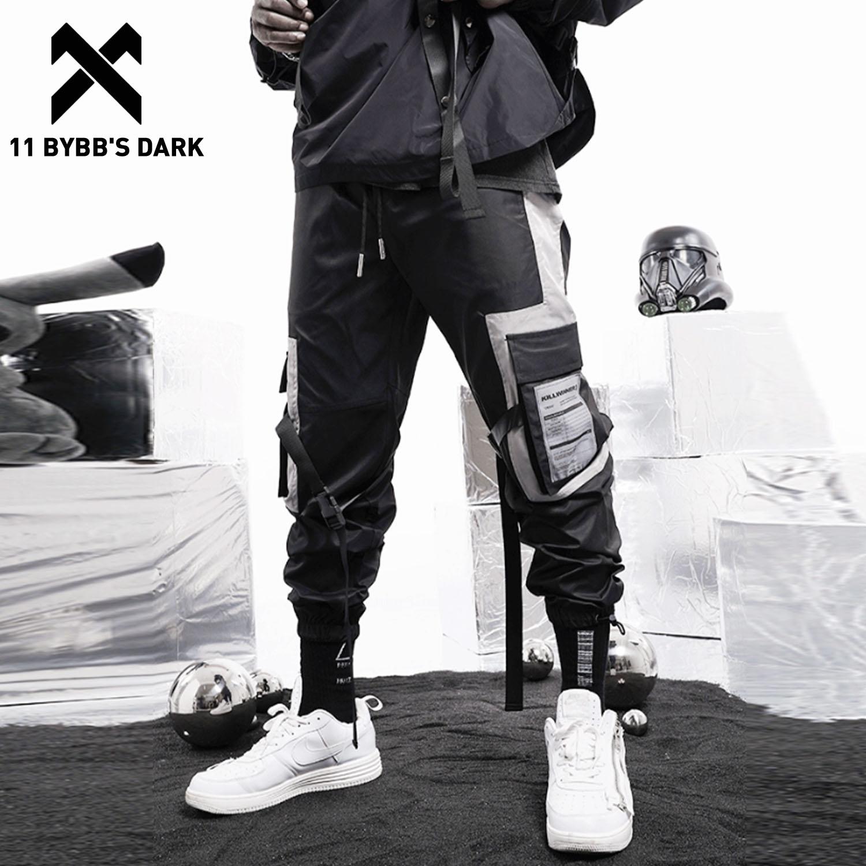 11 BYBB'S DARK Pockets Patchwork Hip Hop Cargo Pants 2020 Harajuku Sweatpants Streetwear Fashion Ribbons Joggers Men Trousers