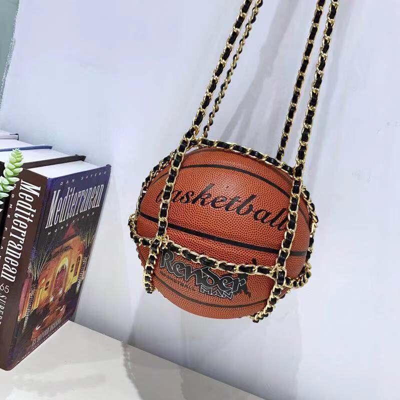 Brand Designer PU Leather Chain Shoulder Messenger Bag Crossbody Bags For Women Personality Basketball Purses Luxury Handbags